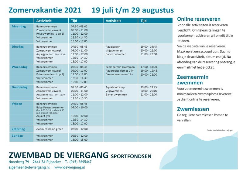 Zomeropenstelling 2021 Zwembad De Viergang
